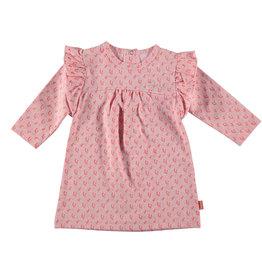 B.E.S.S. Dress l. sl. AOP Flower Ruffles, Pink
