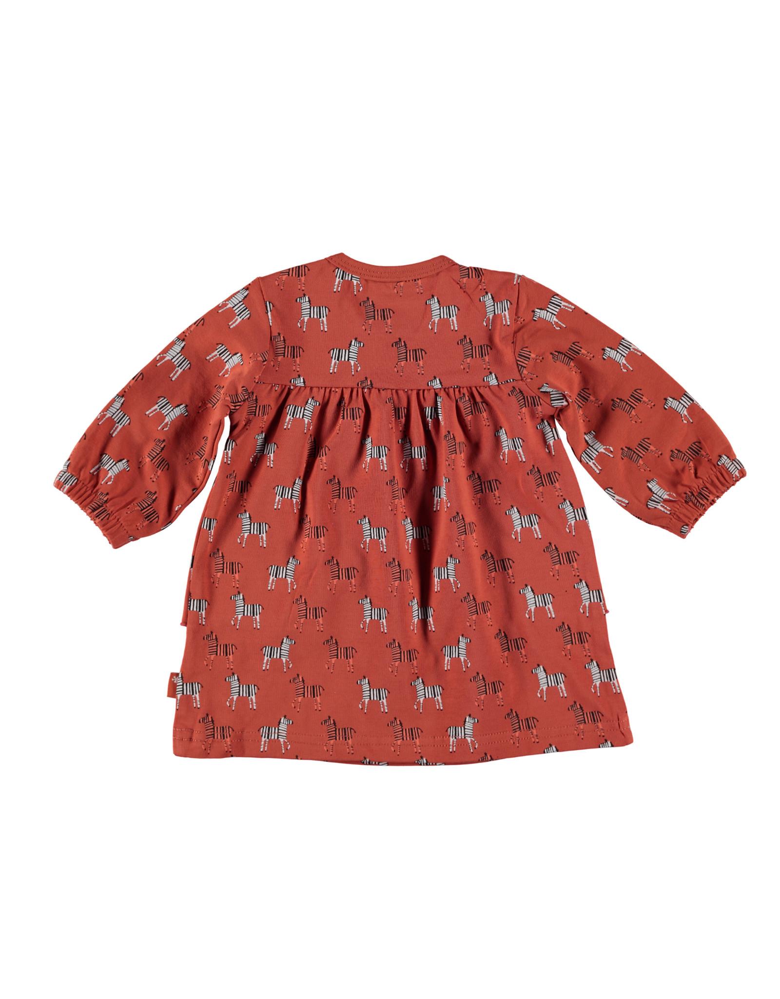 B.E.S.S. Dress l. sl. AOP Zebra, Rusty