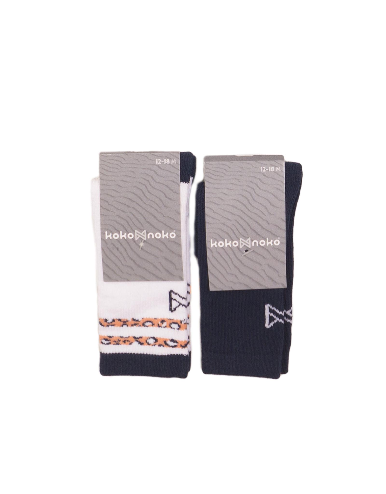 Koko Noko Knee socks 2-pack, Navy + white, SS21