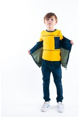 B-Nosy Boys short sleeve t-shirt with contrast zipper pocket, Lemon chrome