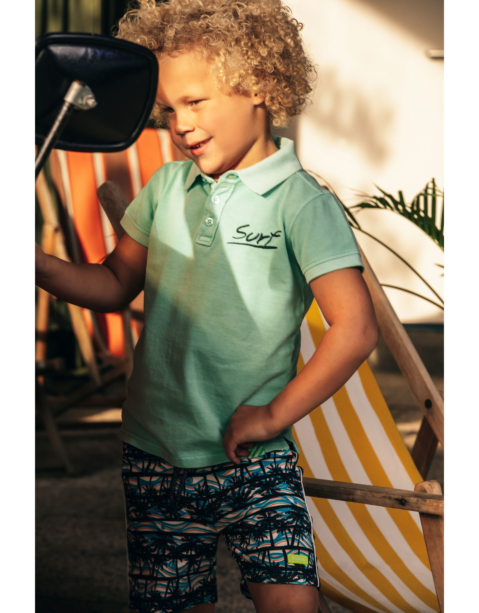 B-Nosy Boys polo with embro on chest, Ice Green