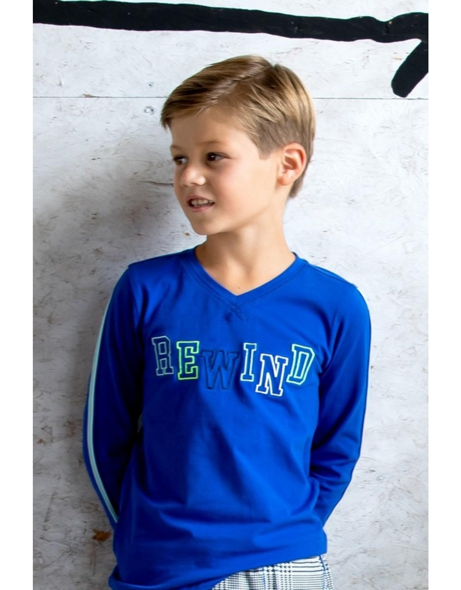 B-Nosy Boys long sleeve with v-neck, tape on sleeves, Cobalt blue