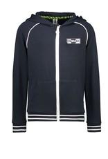 B-Nosy Boys hooded cardigan with zipper print on backside, Oxford blue