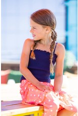 B-Nosy Girls smocked top with adjustable straps, space blue