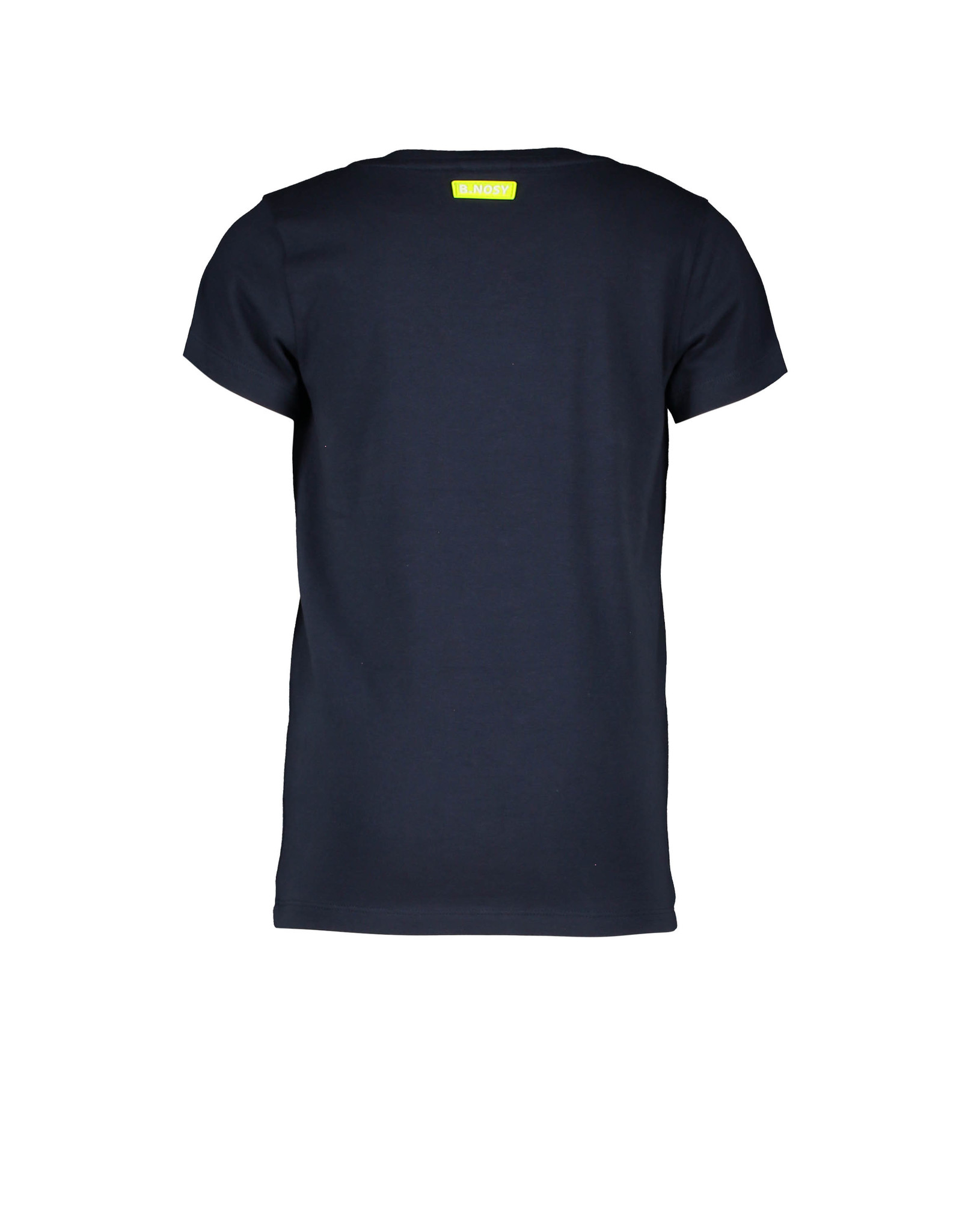 B-Nosy Boys v-neck t-shirt with chest artwork, Oxford blue