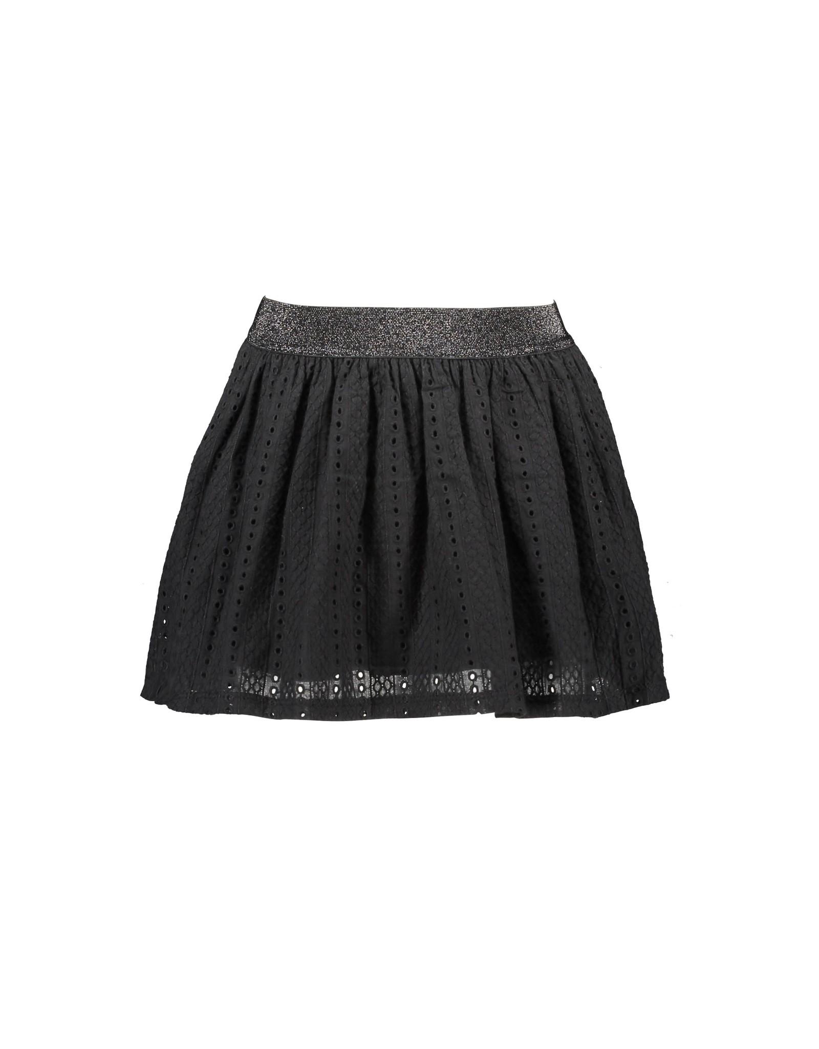 B-Nosy Girls cotton lace fabric skirt with black lining, Black