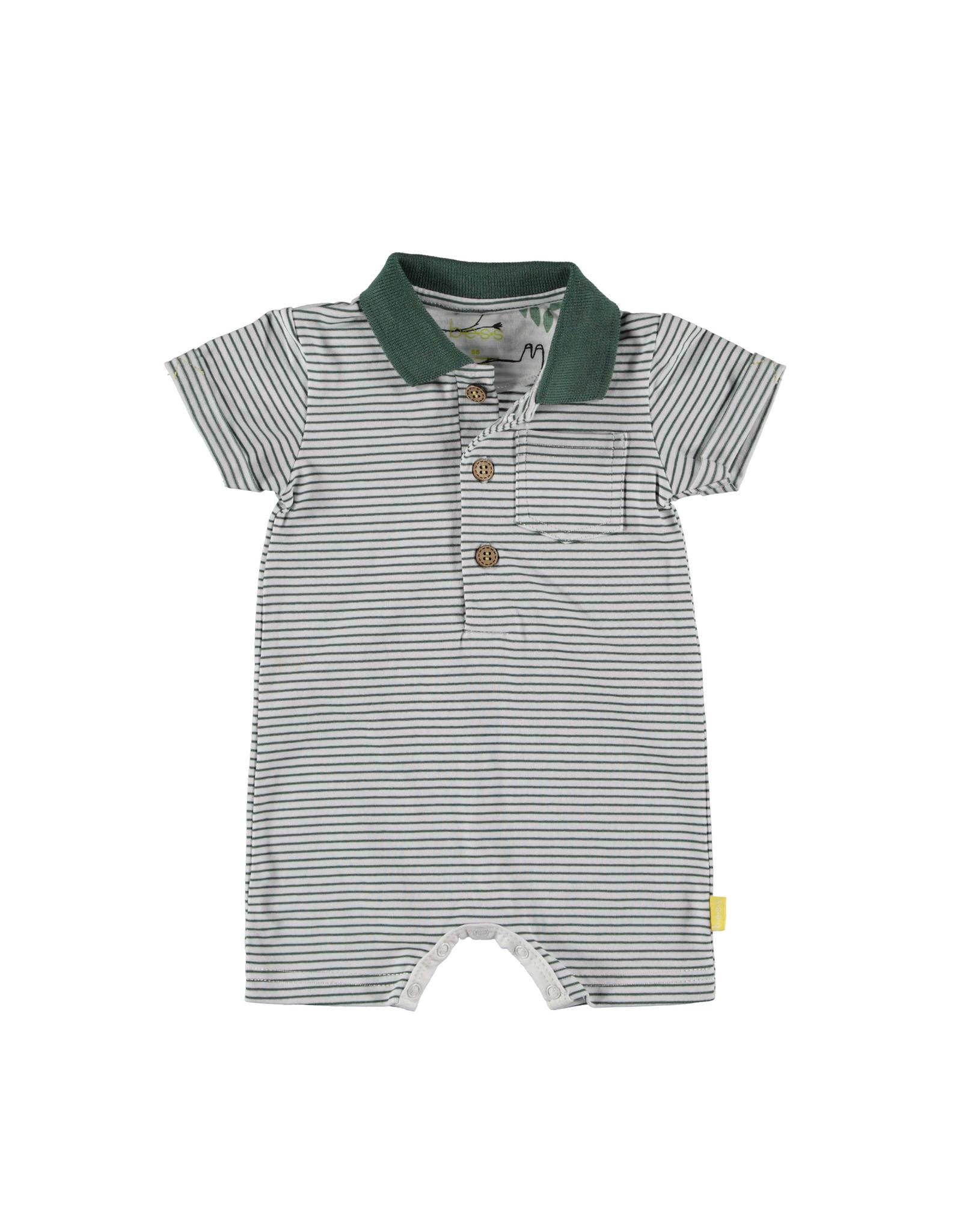 B.E.S.S. Playsuit Stripe polo, White