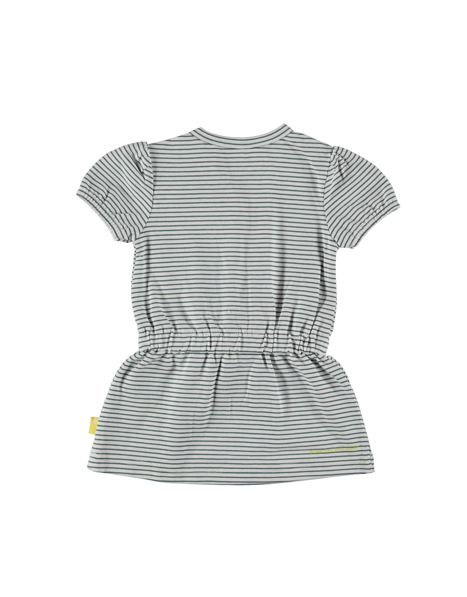 B.E.S.S. Dress sh.sl. Striped, White