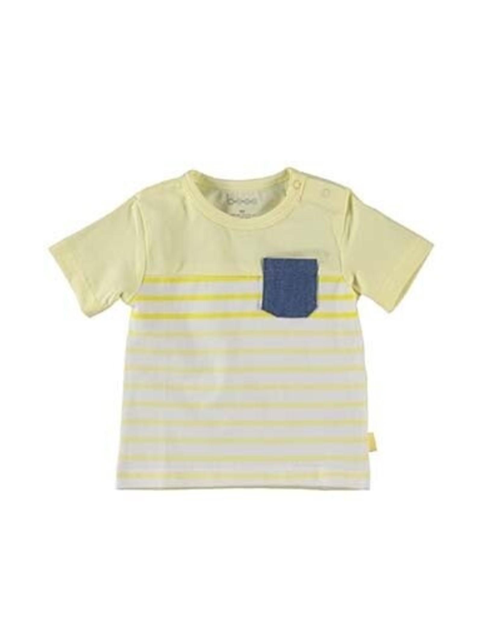 B.E.S.S. Shirt sh.sl. Striped with Pocket, Yellow