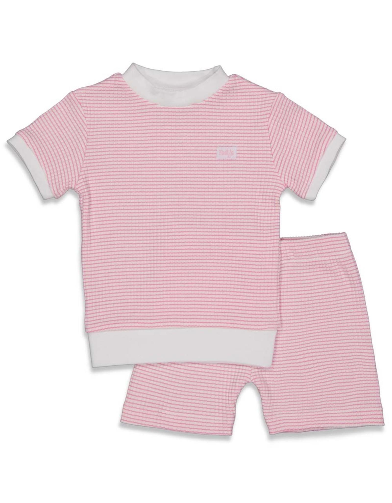 Feetje Pyjama kort wafel. Roze