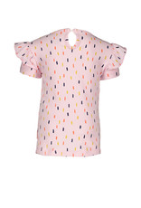 Bampidano Little Bampidano Girls fancy short sleeve T-shirt Doortje AO with ruffles FLOWERS