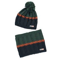 B-Nosy Boys hat + neckwarmer, Botanical green