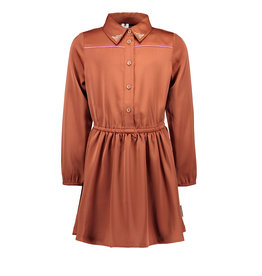 B-Nosy Girls dress with button closure and contrast piping, brique