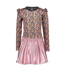 B-Nosy Girls spot dress with coated skirt, Sporty spickles