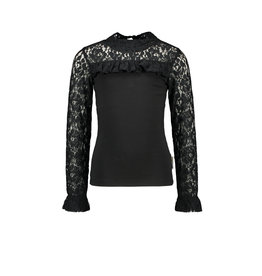 B-Nosy Girls blouse with lace details and smocked sleeve-end, Black