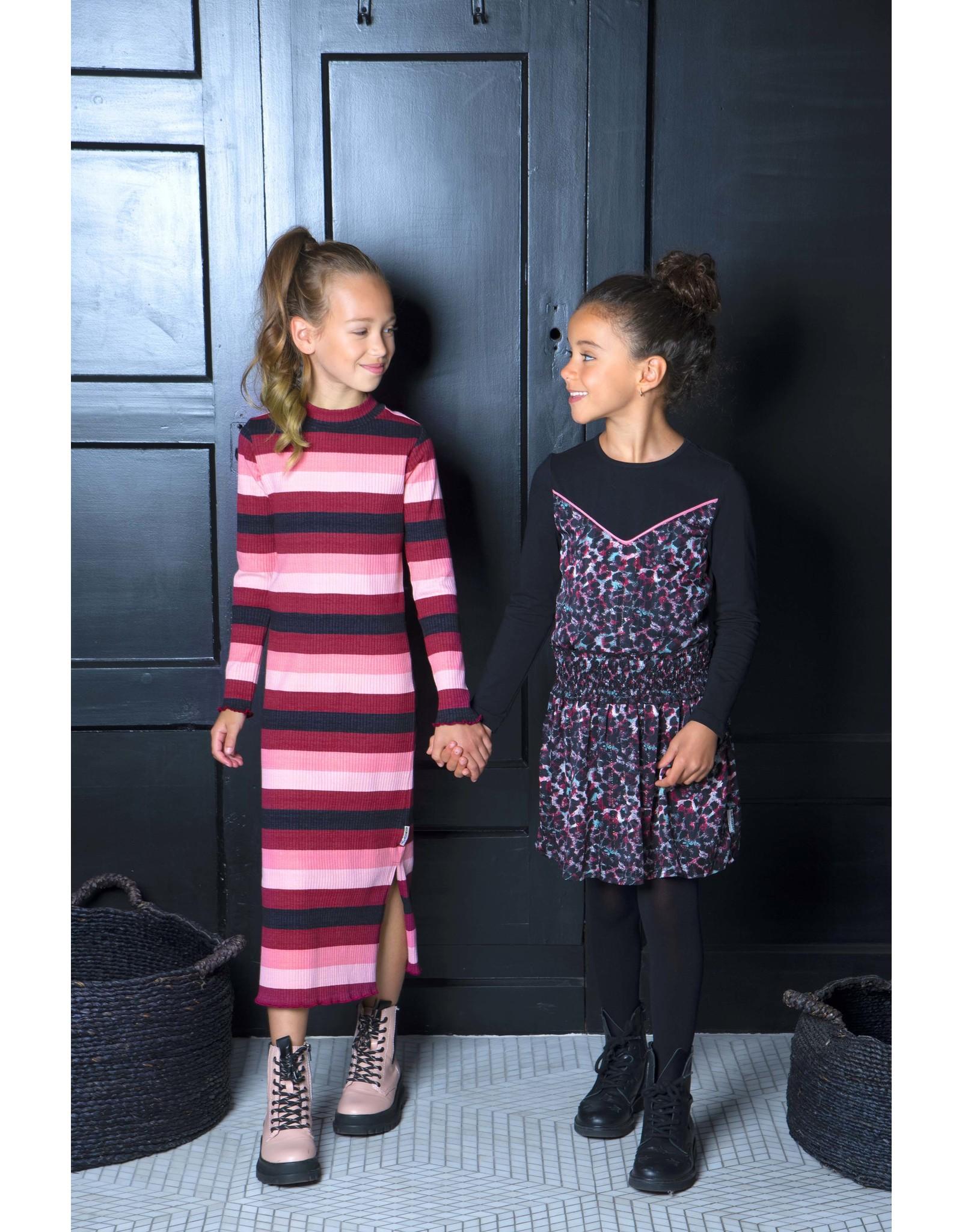 B-Nosy Girls rib maxi straight dress, better rib stripe