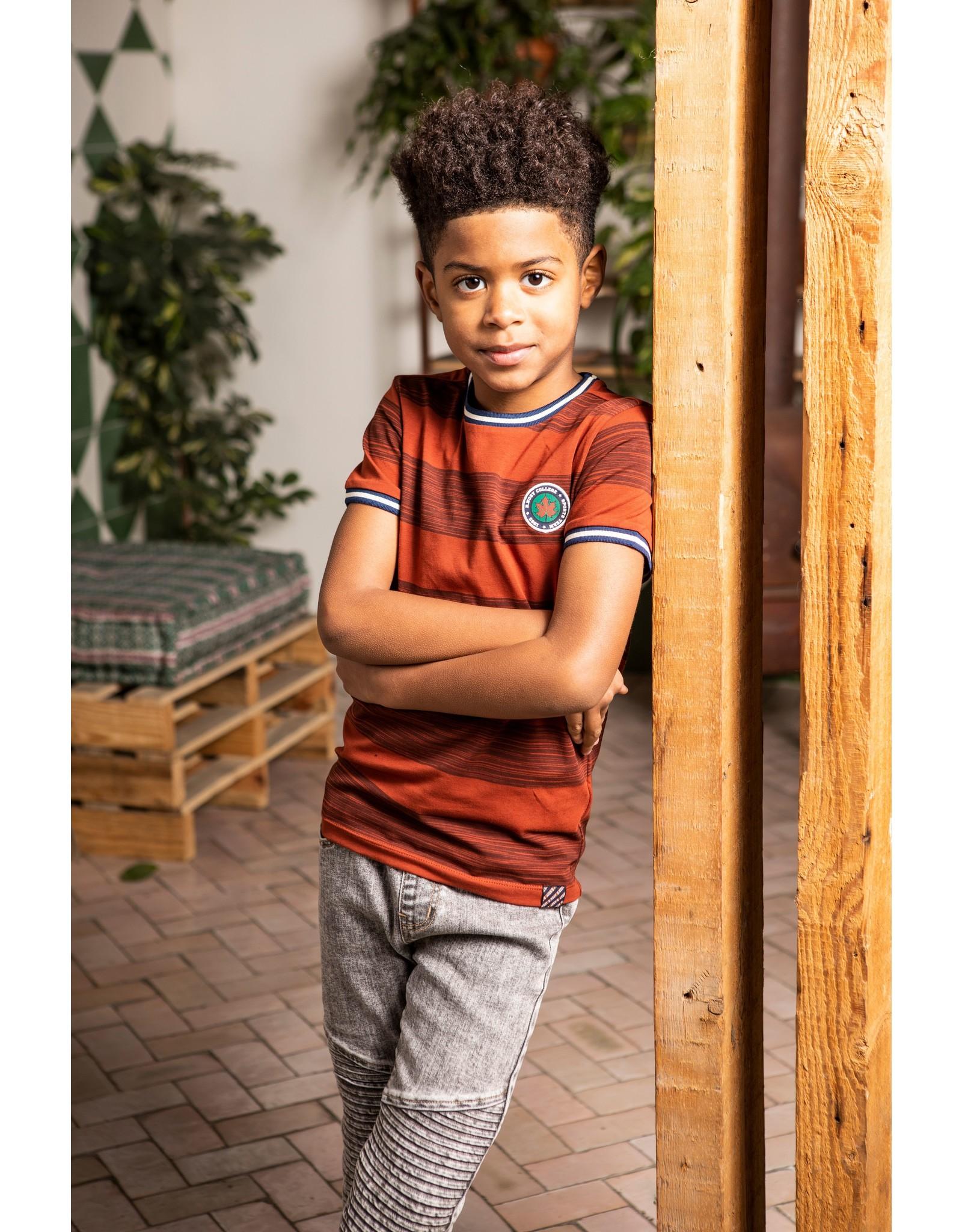 B-Nosy Boys t-shirt with horizontal printed stripes, brique