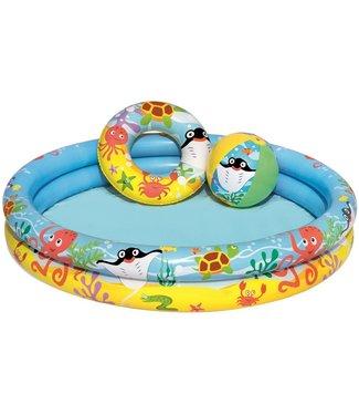 Klein zwembad met bal en zwemring - 122x20cm