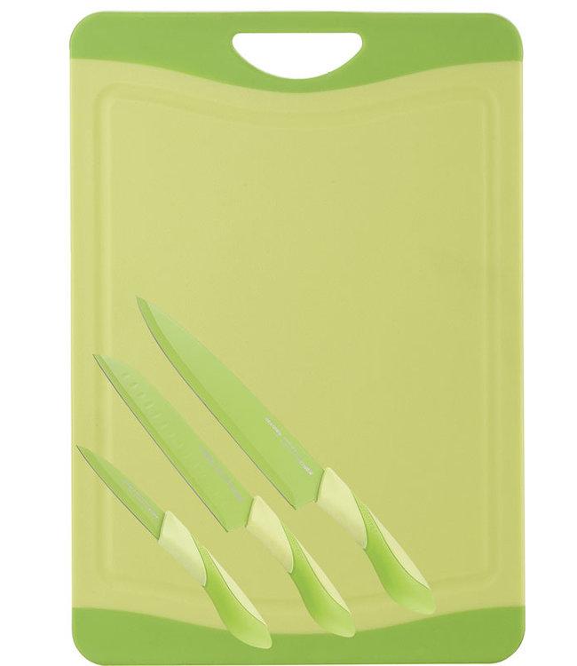 Bergner Snijbord met 3 messen (groen)