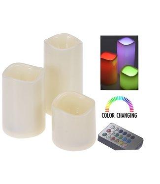 Kleurveranderende LED-kaarsen met afstandsbediening - set van 3