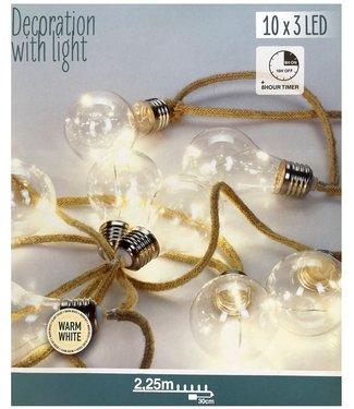 Ceruzo Jute touwslinger - 10 lamps - 2.25m