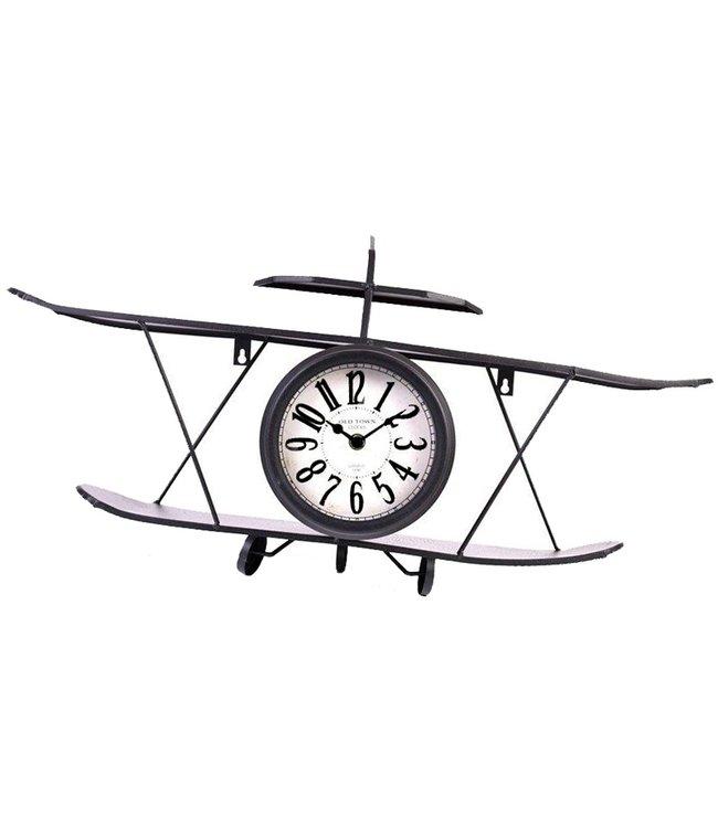 Home & Styling Retro klok dubbeldekker metaal - zwart - 64x16cm