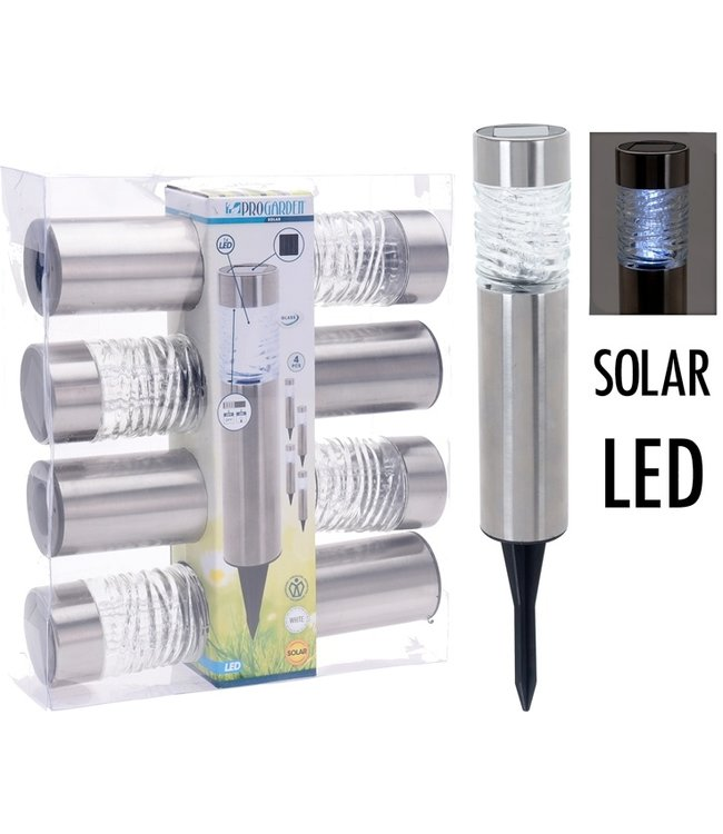 ProGarden Solarlampen LED - RVS + Glas - Set van 4