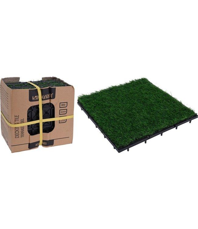 ProGarden Terrastegels kunstgras - set van 9 - 30x30
