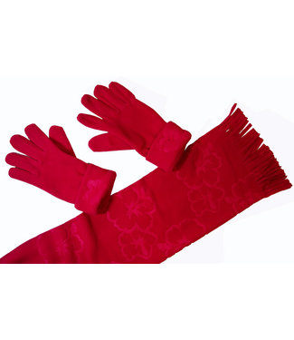 Cadriano Winterset sjaal met handschoenen-rood