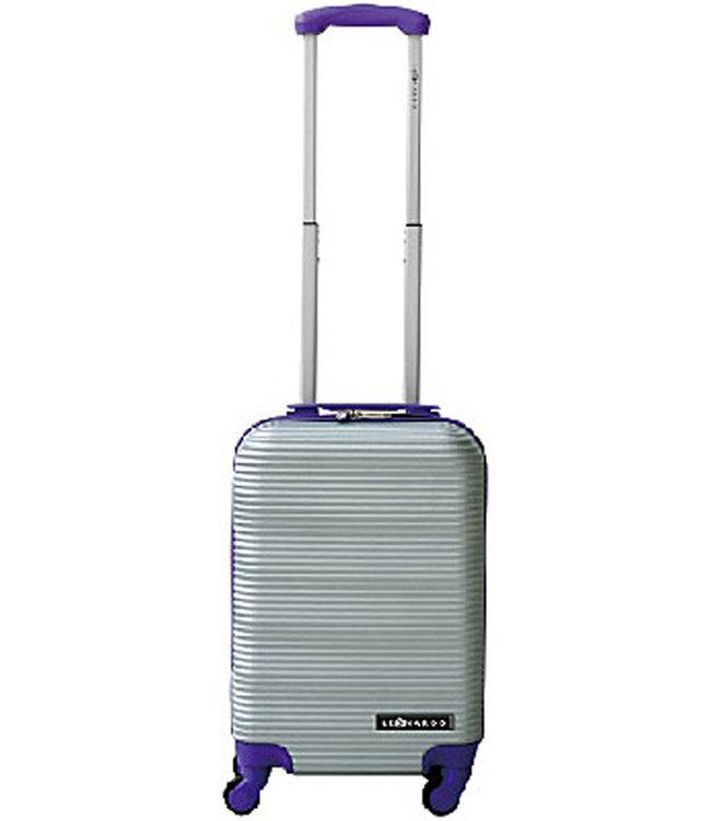 Leonardo Handbagage koffer duo-tone zilver / paars
