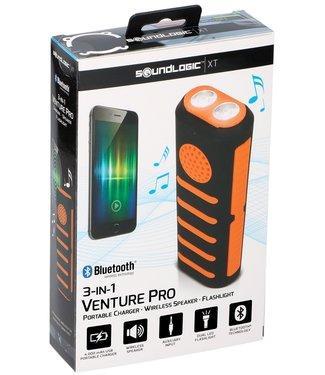 Soundlogic Powerbank met zaklamp en speaker oranje