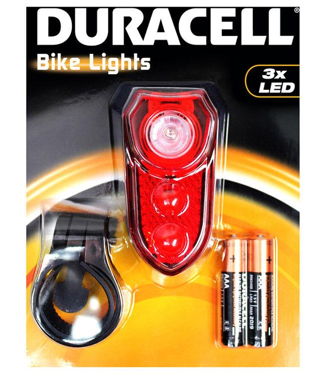 Duracell LED fietslamp achterzijde met batterijen