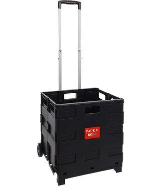 Pack & Roll Boodschappentrolley - vouwkrat zwart - XL - 57liter
