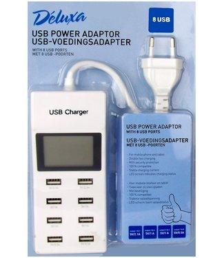 Déluxa USB-voedingsadapter met 8 USB-poorten