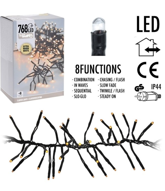 Clusterverlichting 768 LED - 5.5m - extra warm wit