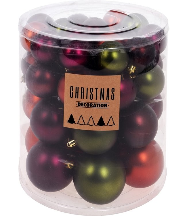 Kerstballenset - 44 stuks plastic - sfeer mix