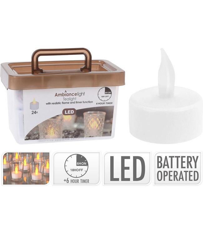 Theelichtjes met timer - LED - 24 stuks I Wax kaarsen I lichtjes I
