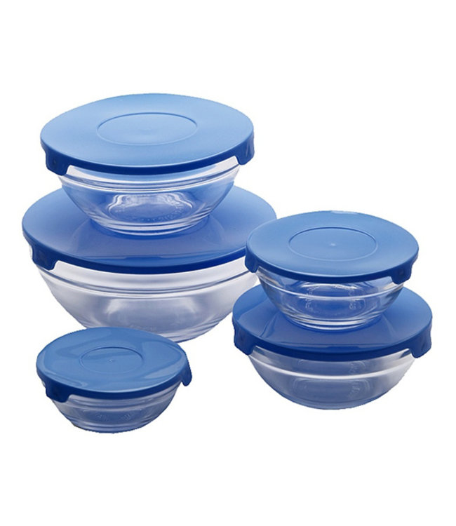 Renberg Glazen voorraadschalen inclusief gratis blauwe deksels