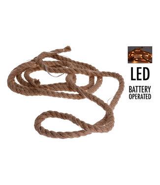 Ceruzo 4 stuks Jute touw met led-verlichting - 3 meter