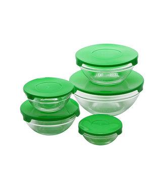 Renberg Glazen voorraadschalen inclusief gratis groene deksels