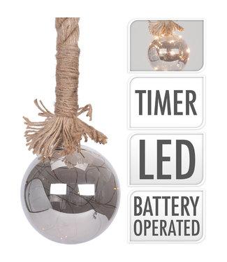 Glazen bal - 10 LED - touw 100cm - met timer