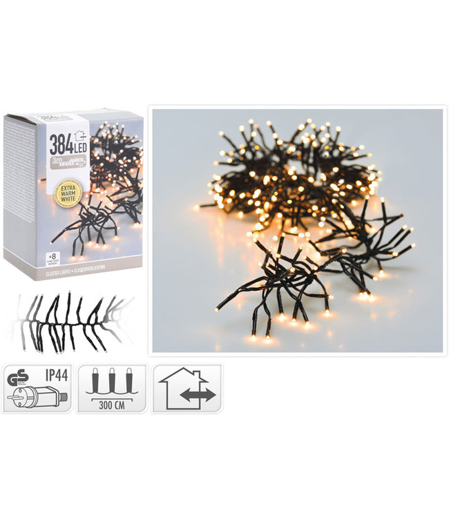 Clusterverlichting - 384 LED - 2.8m - extra warm wit