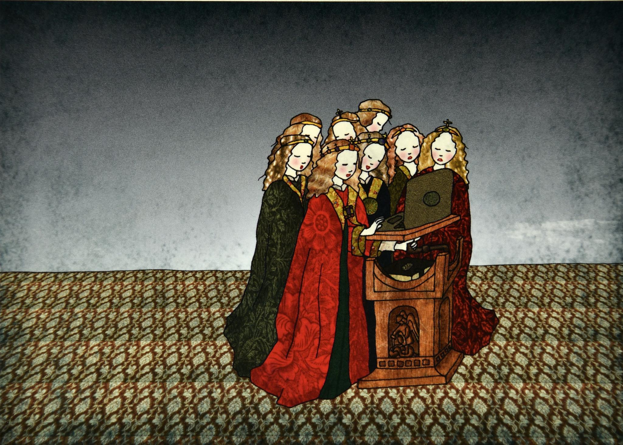 Tine De Groote Postkaart De zingende engelen - Tine De Groote