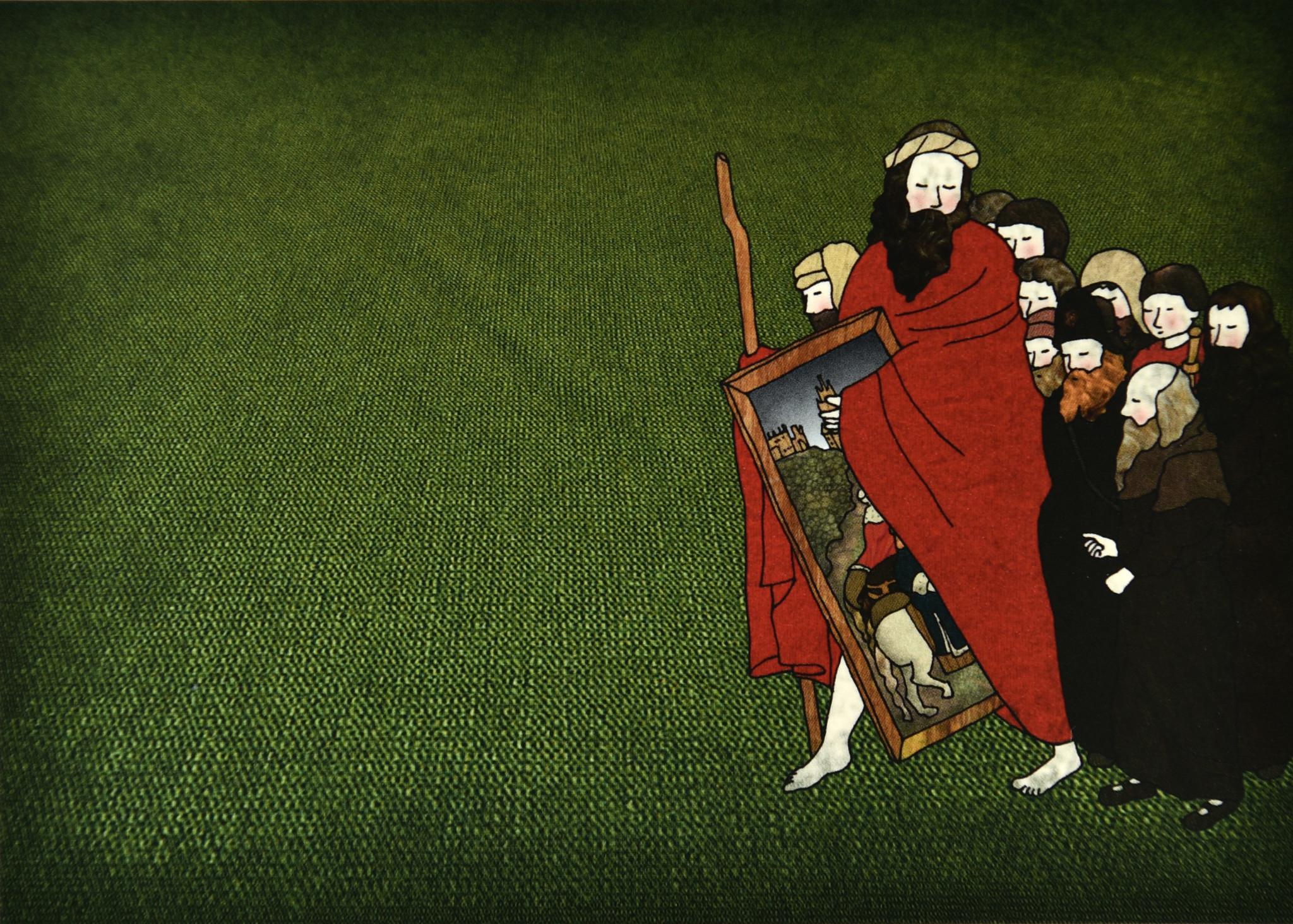 Tine De Groote Postkaart Pelgrims stelen het paneel van de Rechtvaardige Rechters - Tine De Groote