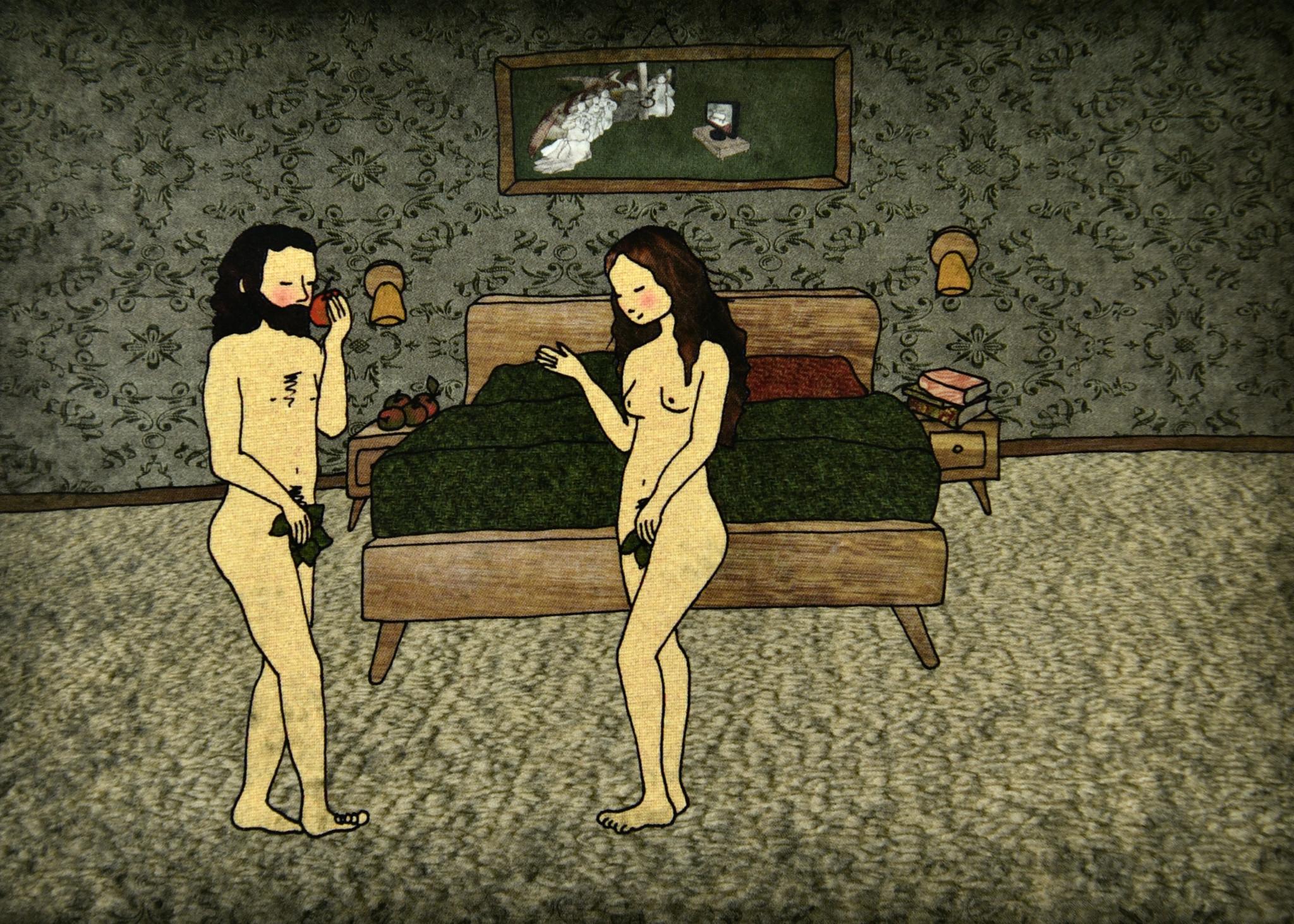 Tine De Groote Postkaart Adam en Eva - Tine De Groote