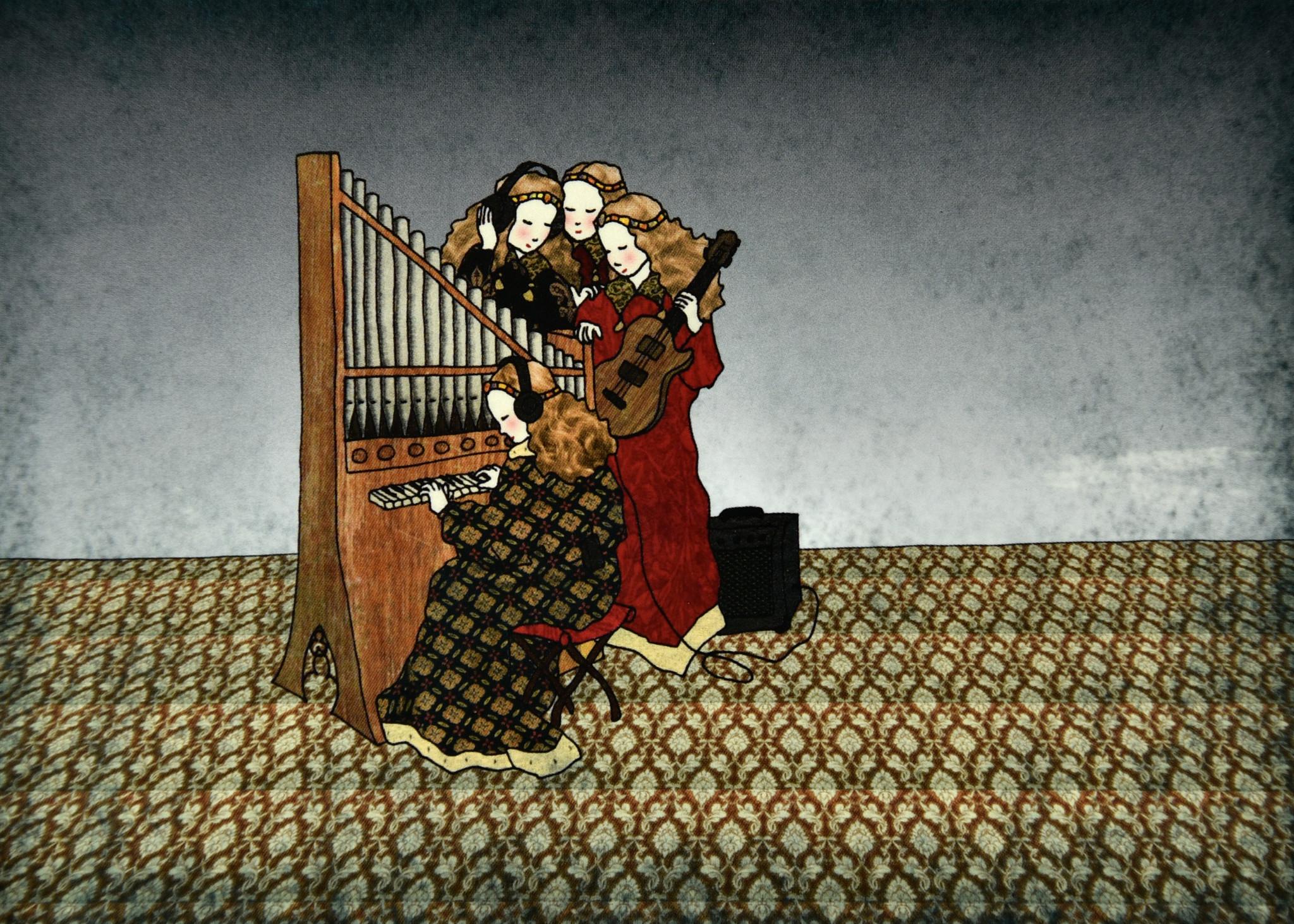 Tine De Groote Postkaart Musicerende engelen - Tine De Groote