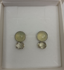 Onis Unique silver earrings with buttons in citrine and prechnite - Onis