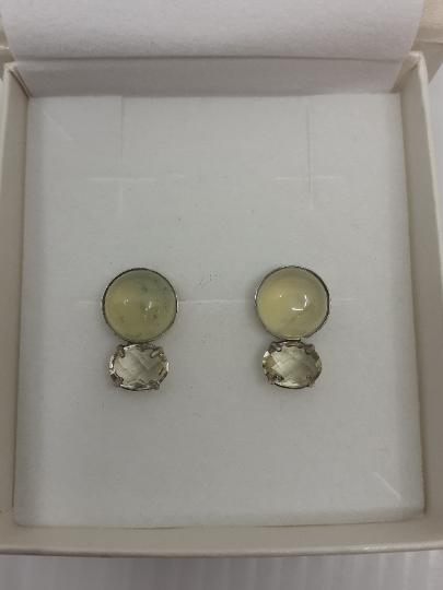Onis Unieke zilveren oorbellen met knopjes in citrine en prechnite - Onis