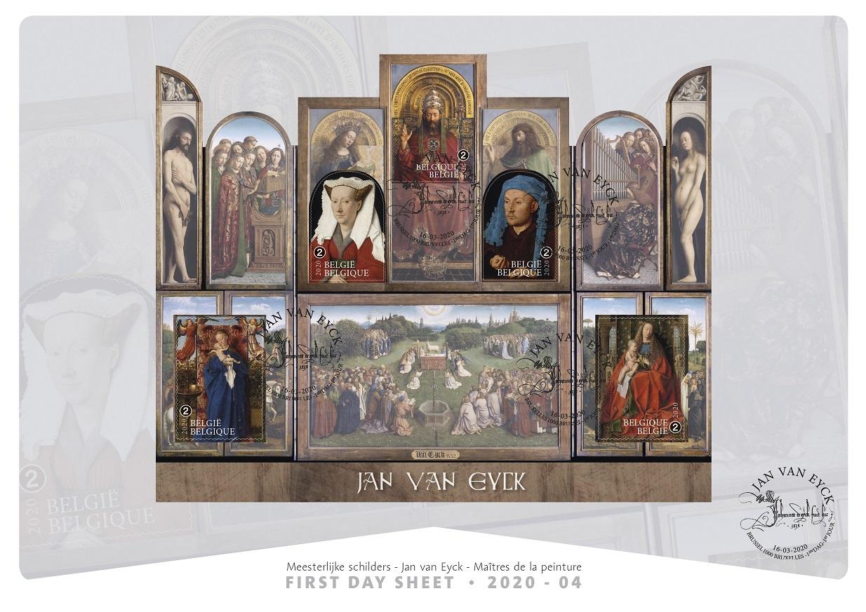 Bpost First day sheet - unieke postzegeluitgifte van Het Lam Gods