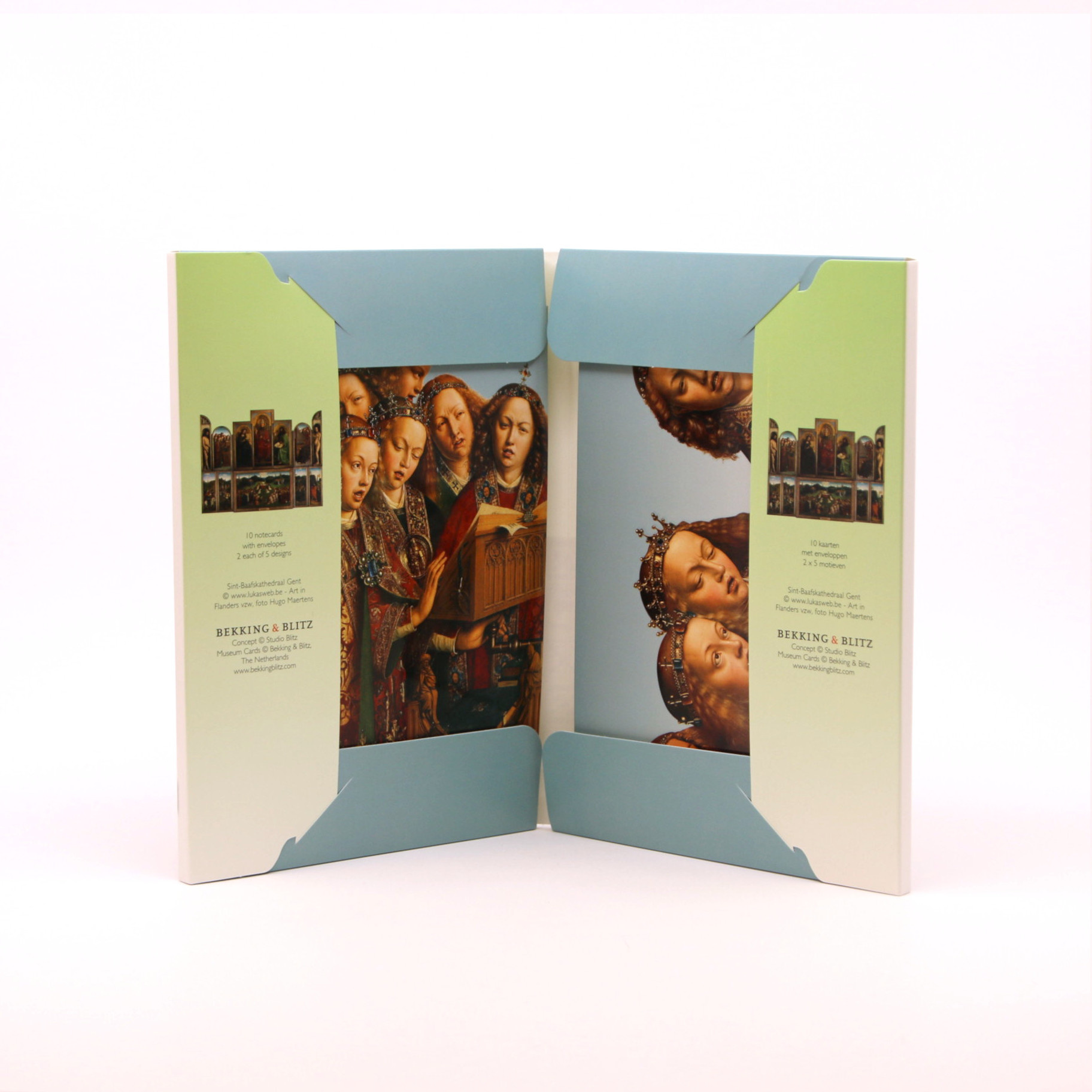 File with 10 double cards with details from the Ghent Altarpiece